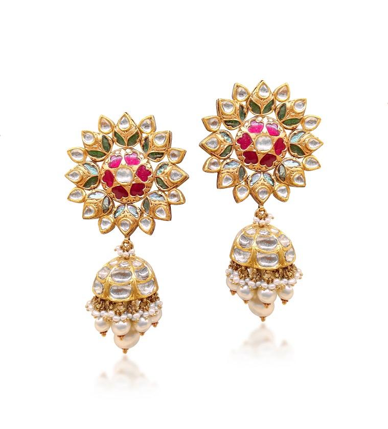 Polki earrings by Narayan Jewellers by Ketan and Jatin Chokshi